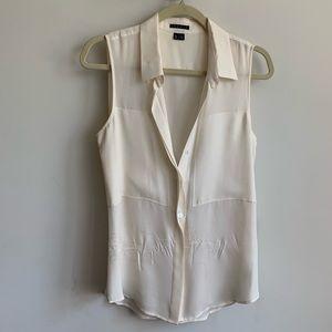 Theory Cream Silk Button Down Shirt